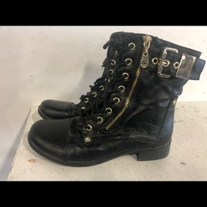 GUESS Black Leather Zip Up Combat Goth Boots SZ 6M